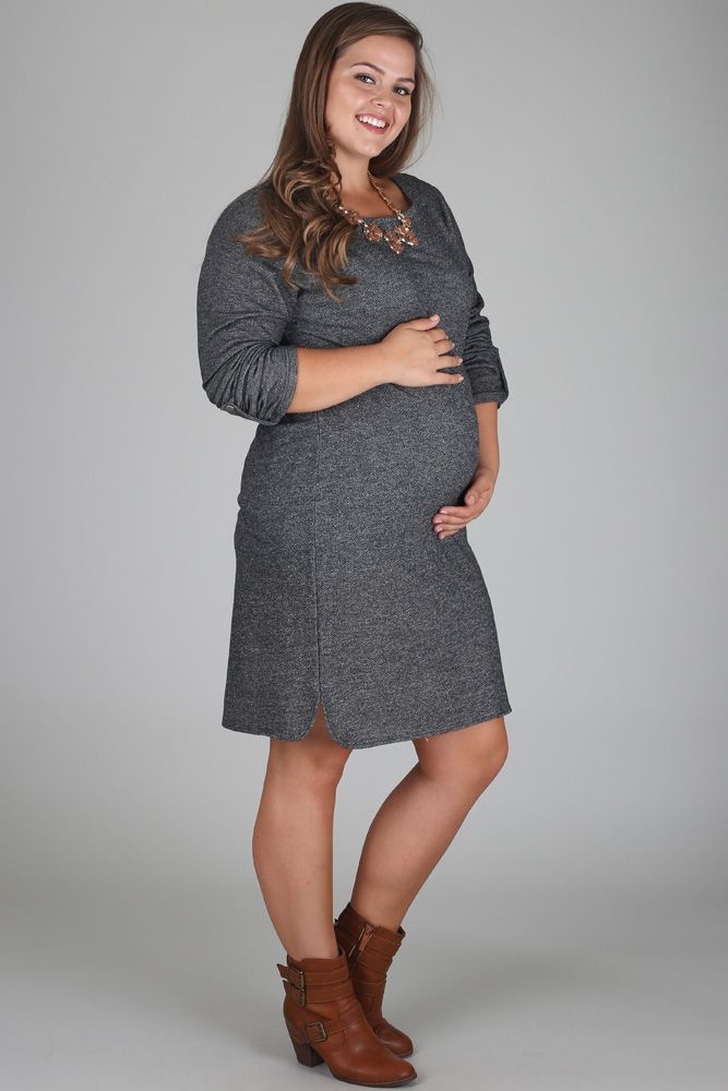 Charcoal-3/4-Sleeve-Plus-Size-Maternity-Dress