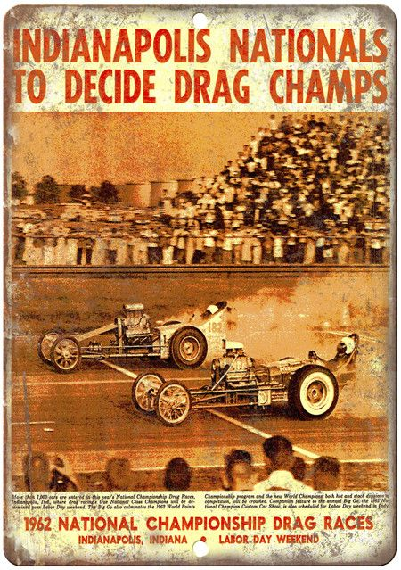 "1962 - Indianapolis National Championship - 10"" x 7"" Reproduction Metal Sign"