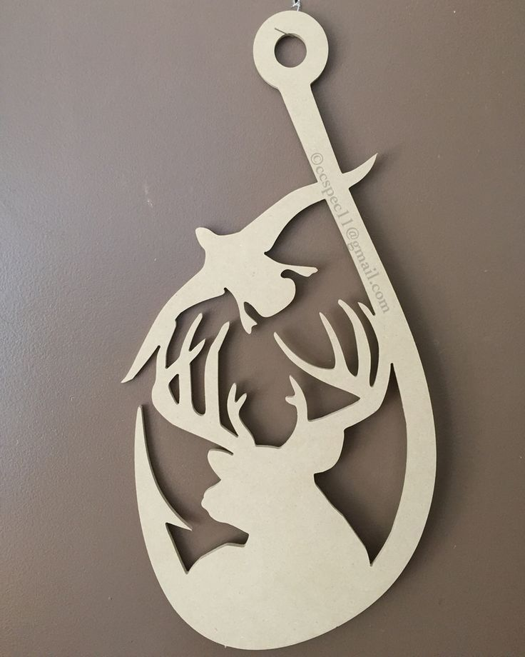 Hooked on the outdoors 1- another Original and Exclusive C&C design! Easter, spring, summer Doorhanger for the deer or duck hunter, bass fisherman; fishing, hunting decor  - deer, mallard, Buck, doe unfinished wall and door hanger wholesale, unfinished wood letters and cutouts #doorhangers #wholesaledoorhangers #ccspec