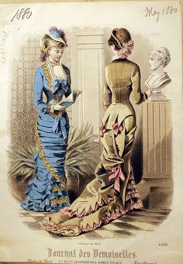Bustles: 1880 May Journal des Demoiselles Love the little pink side bow!