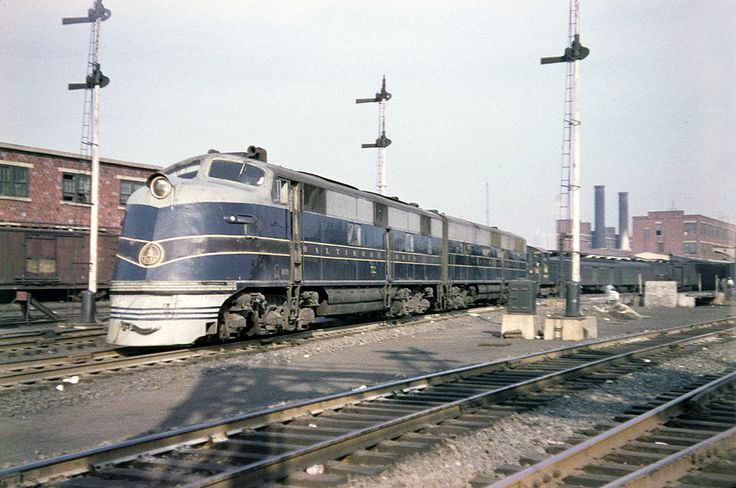 A B&O passenger train departs Central Railroad of New Jersey Terminal