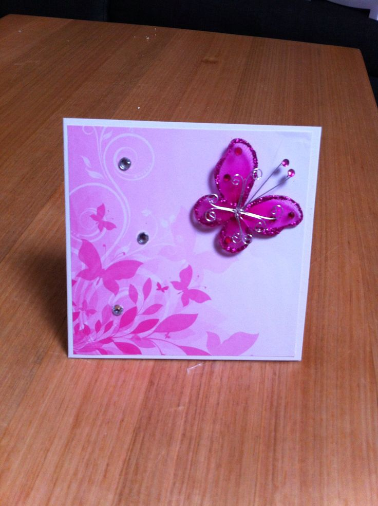 Pretty paper with butterfly attached.