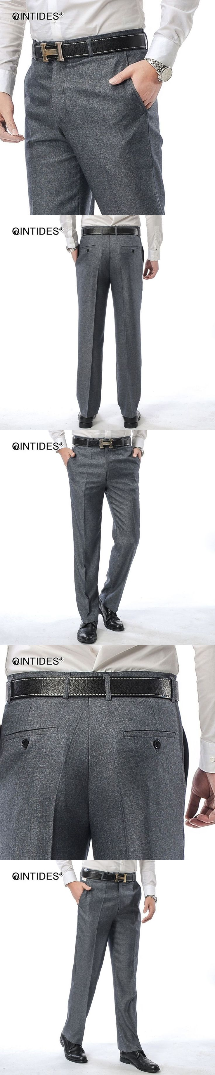 QINTIDES Men's professional dress business pants casual wedding suit trousers thin straight trousers suit pants