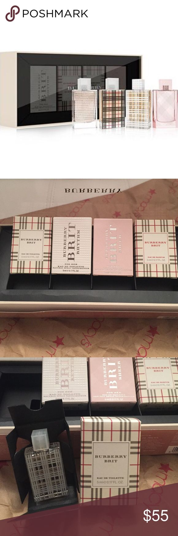 😍FOR ALL THE BURBERRY BRIT LOVERS😍NEW IN BOX Burberry Womens Coffret 4/ .17 bottles  Burberry Brit-Eau De Toilette Burberry Brit Rhythm Burberry Brit Sheer Burberry Brit-Eau De Parfum   Authentic New in Box Never Used Only opened for the photos Purchased from Macy's Burberry Other