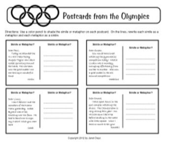 In this activity, students read sample postcards from various Olympic events and use a color pencil to shade the simile or metaphor on each postcar...