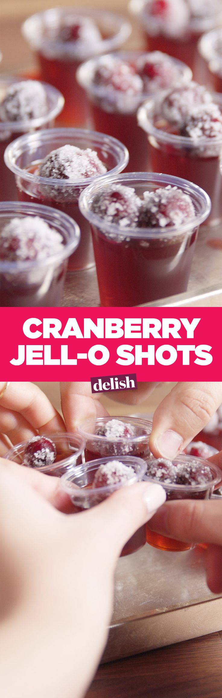 No Friendsgiving is complete without these Cranberry Jell-O Shots. Get the recipe on Delish.com.