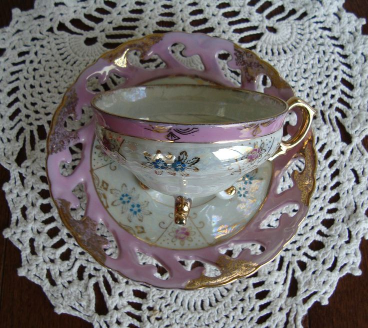 Made in Japan Hand Decorated  - Vintage 3-Footed Tea Cup and Laced Saucer - Pink, Blue and Gold Floral on Pearled Background with Pink Band by OfftheShelf2015 on Etsy