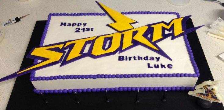Melbourne Storm Cake tutorial. Shows you how to make this cool cake for a rugby league or NRL birthday party. Sweet!