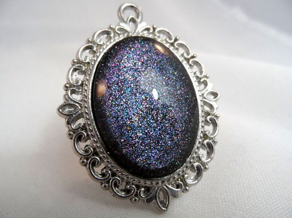 Black Duochrome Holographic Nail Polish Necklace - 'Dark Secret' Handmade Sparkly Silver-plated Black Navy Blue Nail Varnish Pendant Jewelry