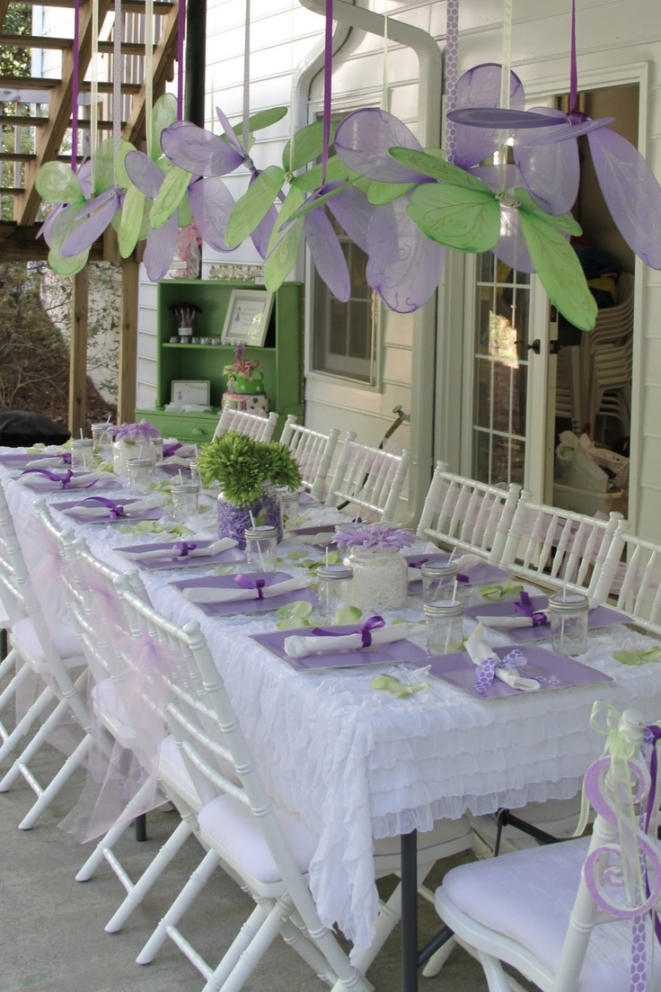 Tinkerbell Fairy Party - love the idea of hanging fairy wings, but for a 4 yr old white tableclothes is a no no.