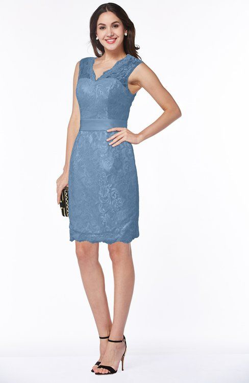 Faded Denim Mature Sheath Sleeveless Zip up Satin Bridesmaid Dresses