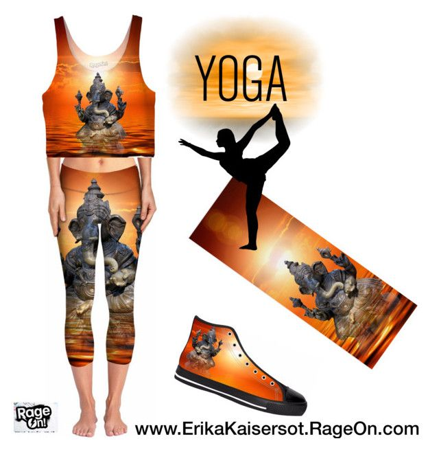 What to Wear to Yoga #yoga pants, crop top, sneakers and yoga mat. Elephant God Ganeshi design by #ErikaKaisersot on @RageOn visit my shop http://ErikaKaisersot.RageOn.com