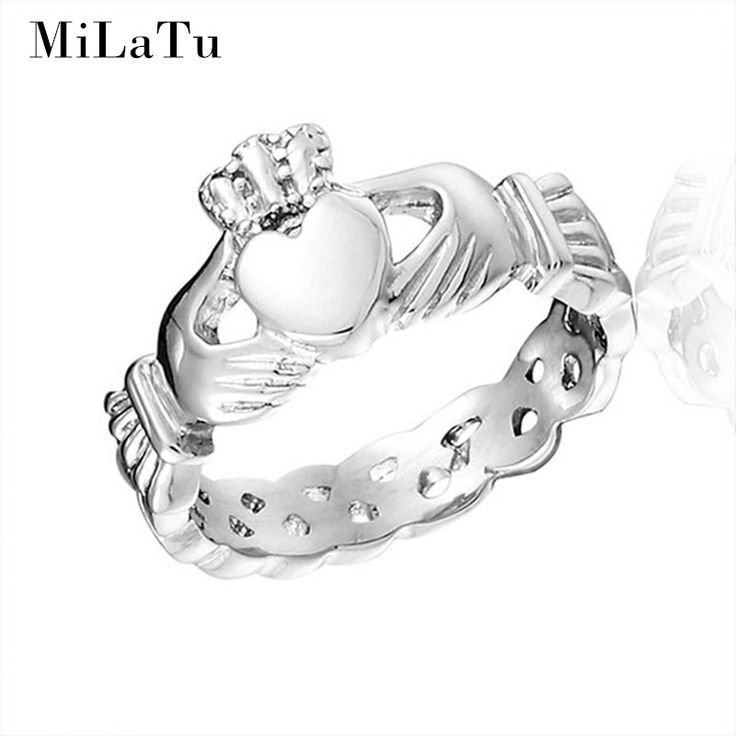 MiLaTu 2 Colors Love Heart Crown Claddagh Rings For Women Stainless Steel Irish Wedding Engagement Ring Bague R186GG