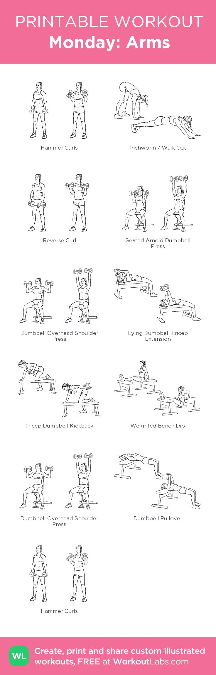 Monday: Arms:my visual workout created at WorkoutLabs.com • Click through to customize and download as a FREE PDF! #customworkout