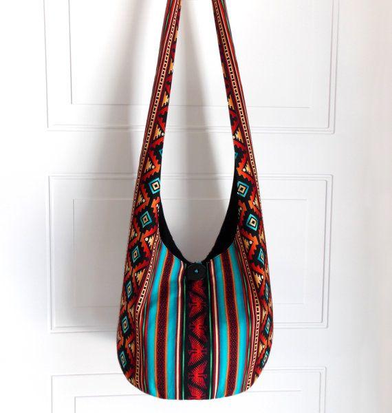 Hobo Bag, Sling Bag, Aztec, Southwestern, Geometric, Turquoise, Red, Orange, Stripes, Crossbody Bag