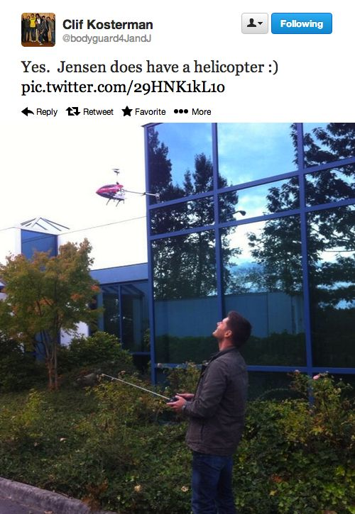 Jensen behind the scenes (Clif via Twitter)