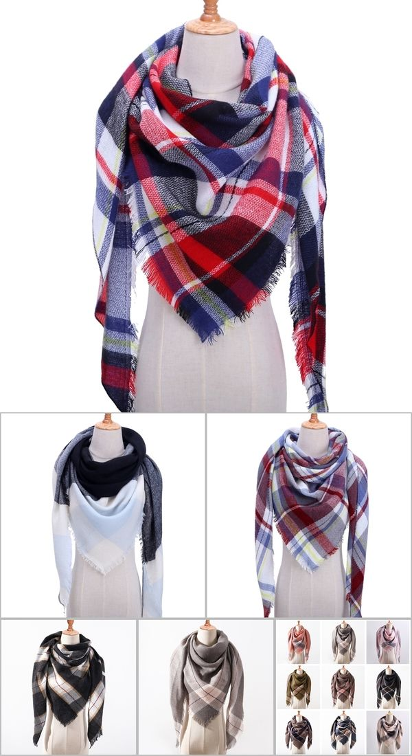 ca9b222db21f3 2019 new brand women scarf fashion plaid soft cashmere scarves shawl lady  wraps designer Triangle warm Wholesale knitted bandana