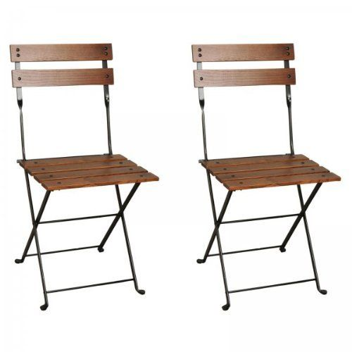 "European Cafe Folding Chairs - Set of 2 (Black / Walnut) (33""H x 16""W x 14""D) by Furniture Designhouse. $360.00. Seat width: 16"". Seat depth: 14"". Chair height top to bottom: 33"". Sold as a set of two chairs. Seat height: 18"". Add transitional style and supreme quality to your patio with this Set of 2 European Cafe Folding Patio Chairs by Furniture Designhouse.  These well crafted and unique outdoor dining chairs feature a polyester baked anti-UV powder coating t..."