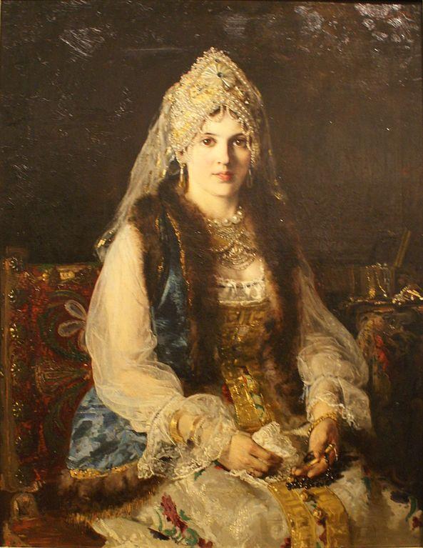 Russian costume in painting. Vladimir E. Makovsky. Boyarynya. 1880. Boyarynya is a noble woman in ancient Russia, a boyar's wife.
