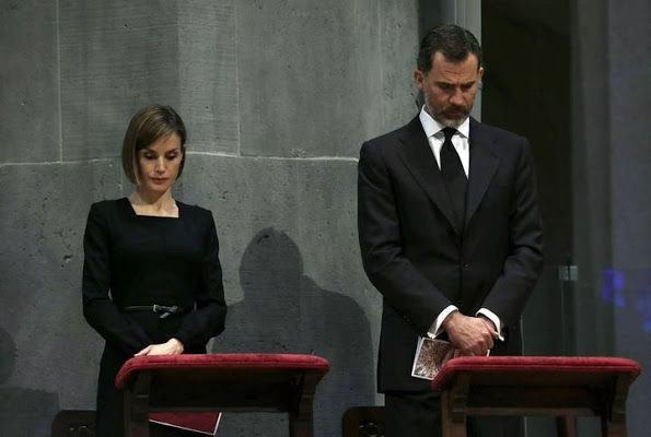 King Felipe of Spain and Queen Letizia of Spain attended the memorial service for the 150 victims of the Germanwings crash at the Sagrada Familia Cathedral in Barcelona, Spain on April 27, 2015.