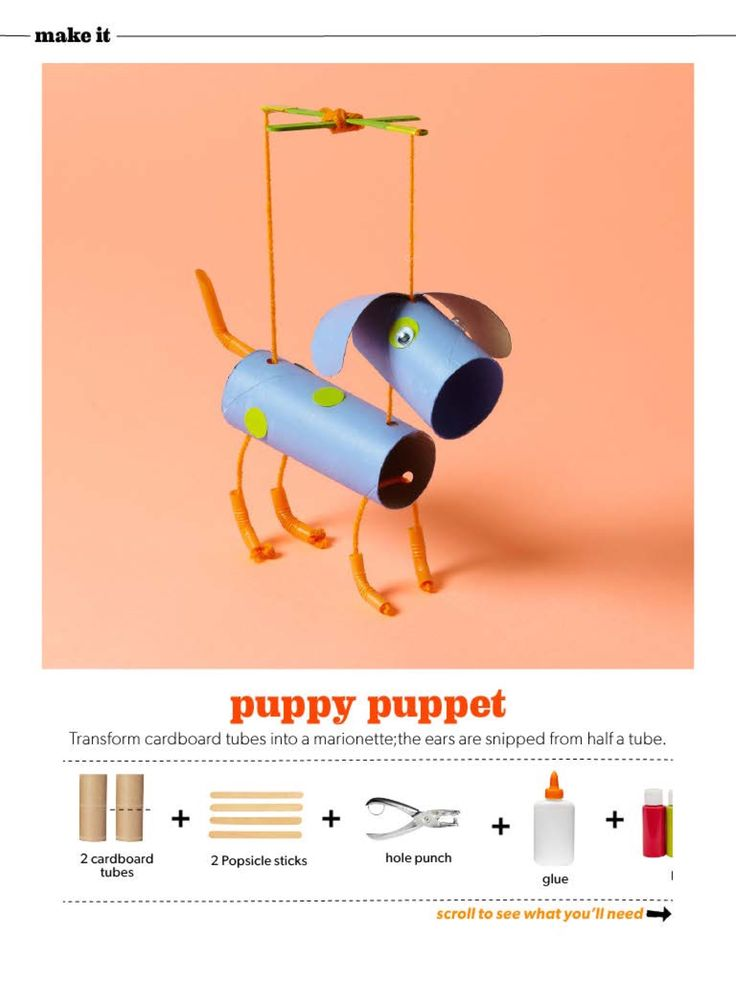 Fun kid craft projects: Puppy puppet made out of toilet paper or paper towel tubes.