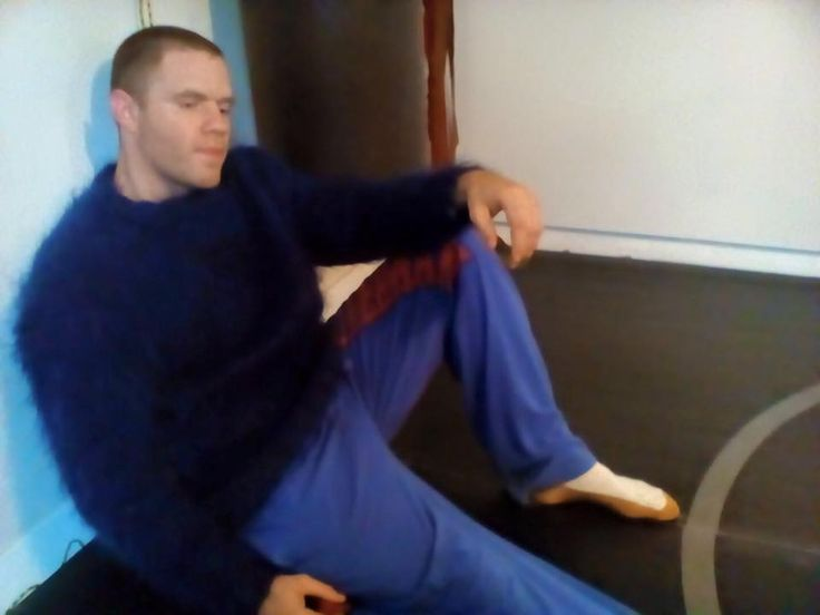 Men's blue crewneck mohair sweater