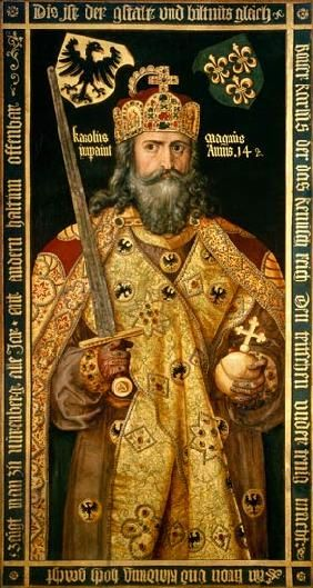 Albrecht Dürer - Charlemagne, Charles the Great (747-814) King of the Franks, Emperor of the West, in his coronation