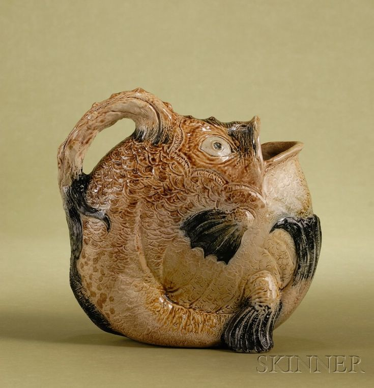 Martin Brothers Glazed Stoneware Angler Fish-form Water Jug