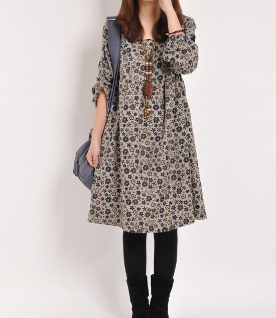 Blue Floral Print cotton dress long sleeve dress linen dress casual loose cotton shirt maternity dress large cotton blouse plus size dress