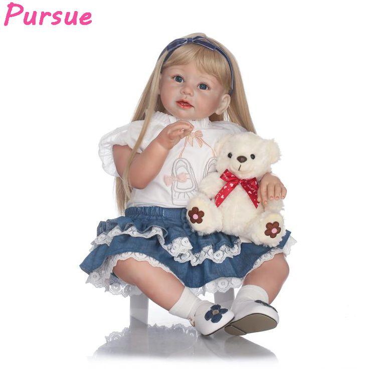 4 315 гр  159 дол    Большой Возрождается Малыша Кукла Силикона золотые Волосы Куклы одеваются Девушки Куклы Подарок для Продажи купить на AliExpress