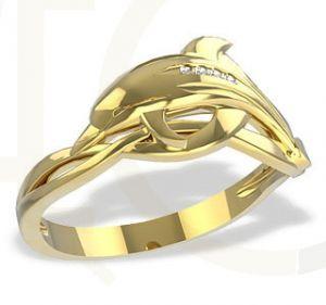 Pierścionek z żółtego złota delfin LP-28Z