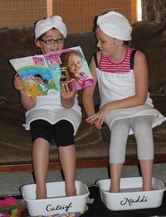 Spa party - Little Girl magazines is a great idea for mani/pedi. Names on plastic tubs for Pedi's, towel wraps, teen magazines.