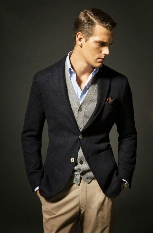 This is what I mean when I say layering.  A thin sweater (cardigan or 'V' Neck) over a short, but under a blazer.  A great look Navy and Gray.  Or Brown and Navy.  Brown and Black and, well the combinations are endless.