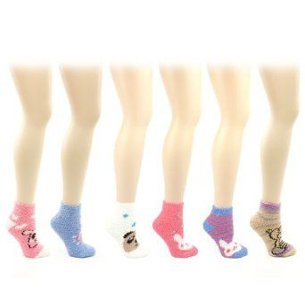 Ladies Teens 6 Pairs Winter Cute Animal Face Fuzzy Warm Plush Thick Ankle Socks SK Hat shop. $17.95