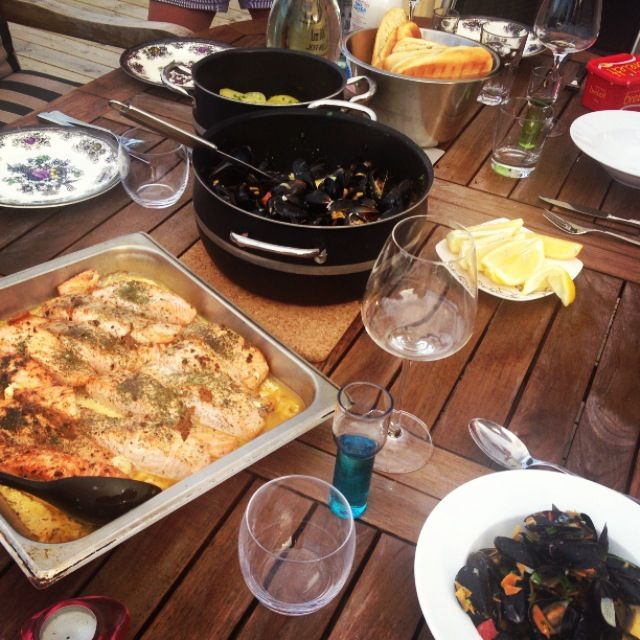 Salmon and mussels