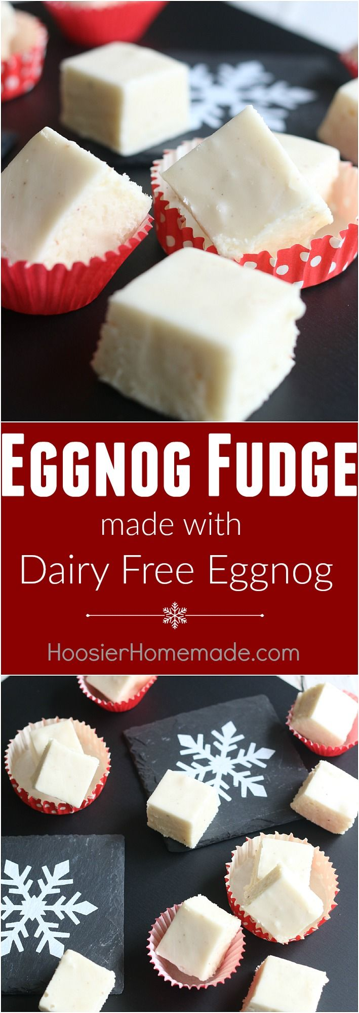 The perfect holiday treat to make and share as gifts - this Eggnog Fudge is EASY to make, goes together quickly AND is made with Dairy FREE Eggnog! Whip up a batch to share with friends, teachers, neighbors, co-workers and more!
