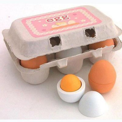 6PCS Baby Kids Pretend Play Educational Toy Wooden Eggs Yolk Kitchen Cooking