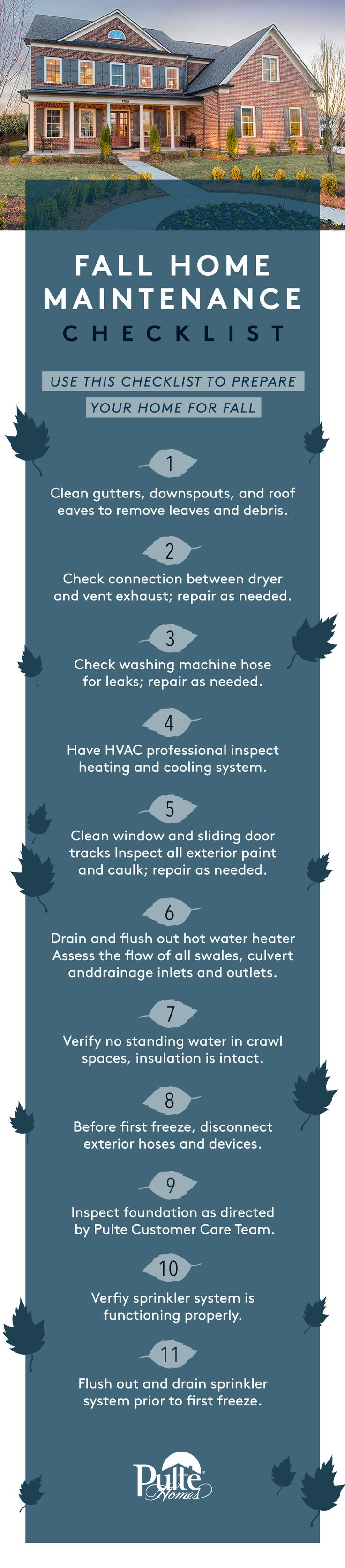 Best 25 home maintenance checklist ideas on pinterest for Fall home preparation