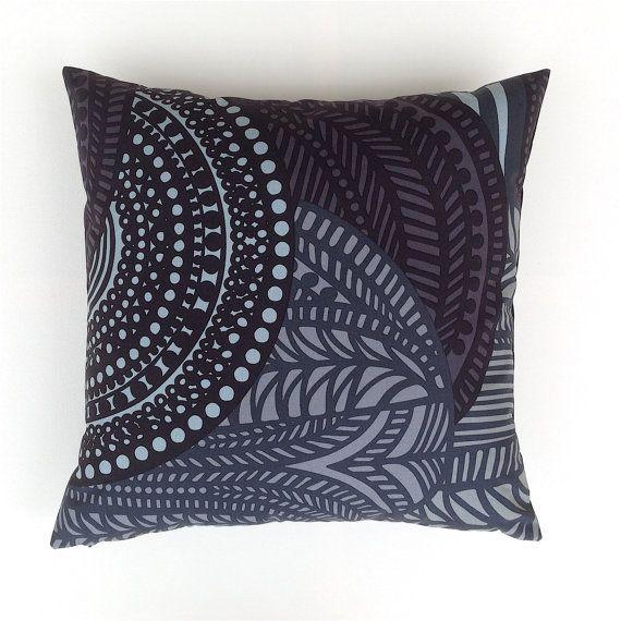 Marimekko Black and Grey Pillow Cover. Scandinavian by OnHighat5
