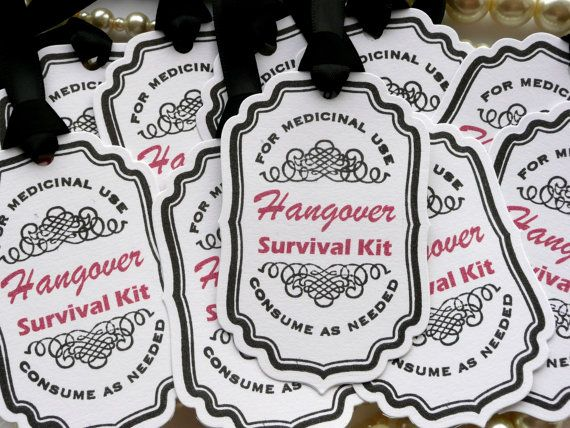 Bachelor or Bachelorette Party Favor Tags - Hangover Survival Kit - Set of 10