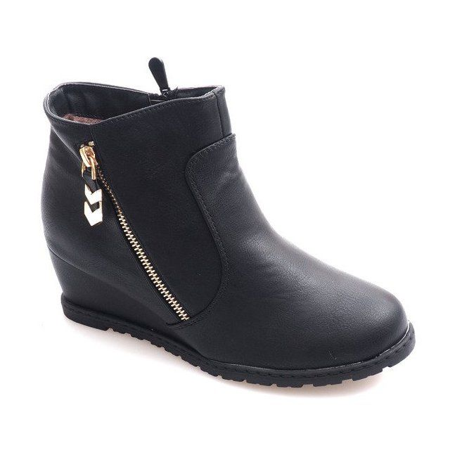 Ocieplane Botki Na Koturnie Z Suwakiem Xy699 Czarny Czarne Boots Womens Boots Boot Shoes Women