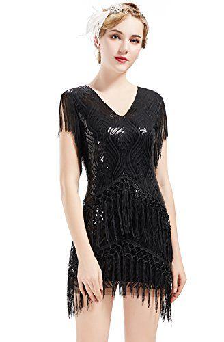 5a97c930054a7 New BABEYOND BABEYOND 1920s Flapper Dress Long Fringed Gatsby Dress ...