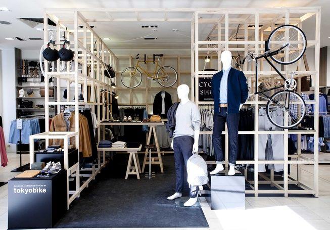 """COUNTRY ROAD CYCLE SHOP, South Yarra,Melbourne, """"Clothing merchandised alongside Tokyo Bike's stylishly minimalist bikes"""", pinned by Ton van der Veer"""