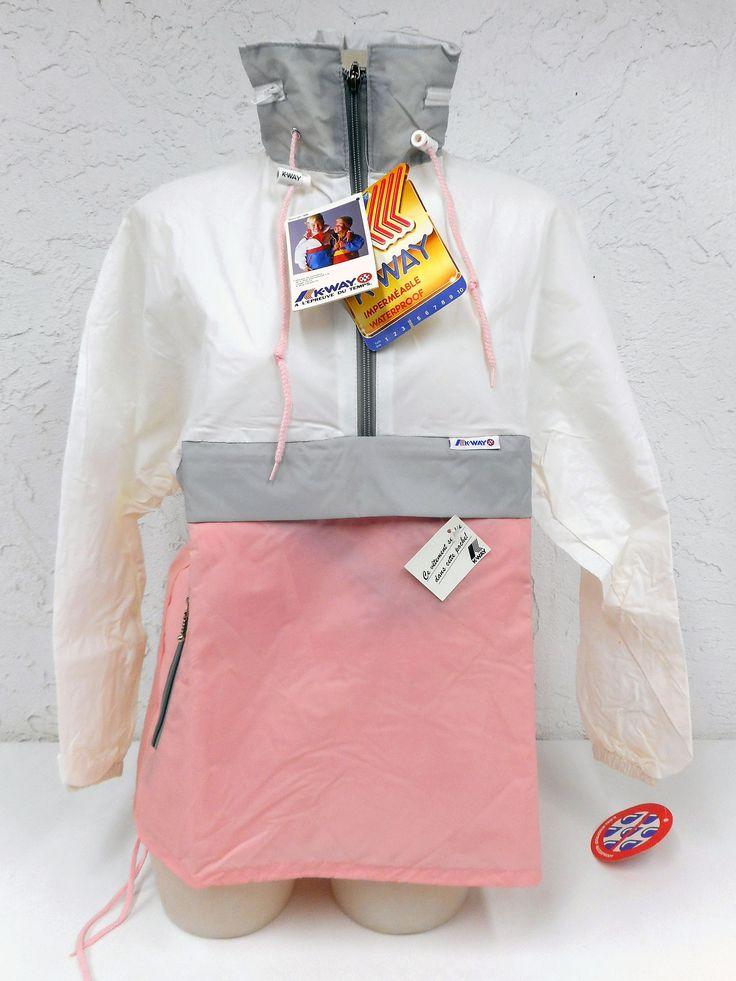Vintage 1980's K-Way Kway Jacket Windbreaker, Zip Up Waterproof Raincoat, Size 4, Model 126, Pink White Grey, New Old Stock NOS