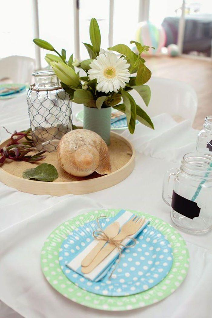 Dining Table Centerpiece From A Rustic Beach Ball Birthday Party Via Karas Ideas KarasPartyIdeas