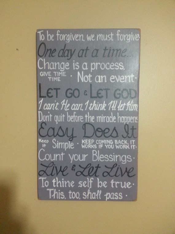 aa quotes serenity prayer inspirational sign one day at a