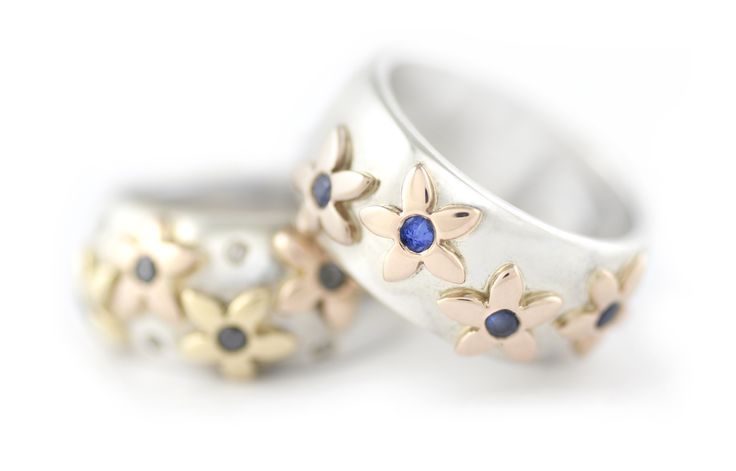 Handmade Argentium Silver Domed Rings, With Four 18ct Yellow Gold Daisy's Set With Coloured Gemstones