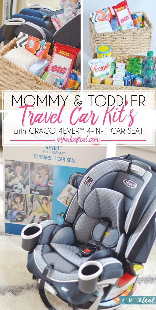 Mommy & Toddler Travel Car Kit's, and What to Pack!  Are you a mom on the go? Having a Mommy & Toddler Travel Car Kit is a must these days. See how to make one, plus check out my new Graco 4Ever™ 4-in-1 Car Seat! #Graco4Ever #ad | A Shade Of Teal