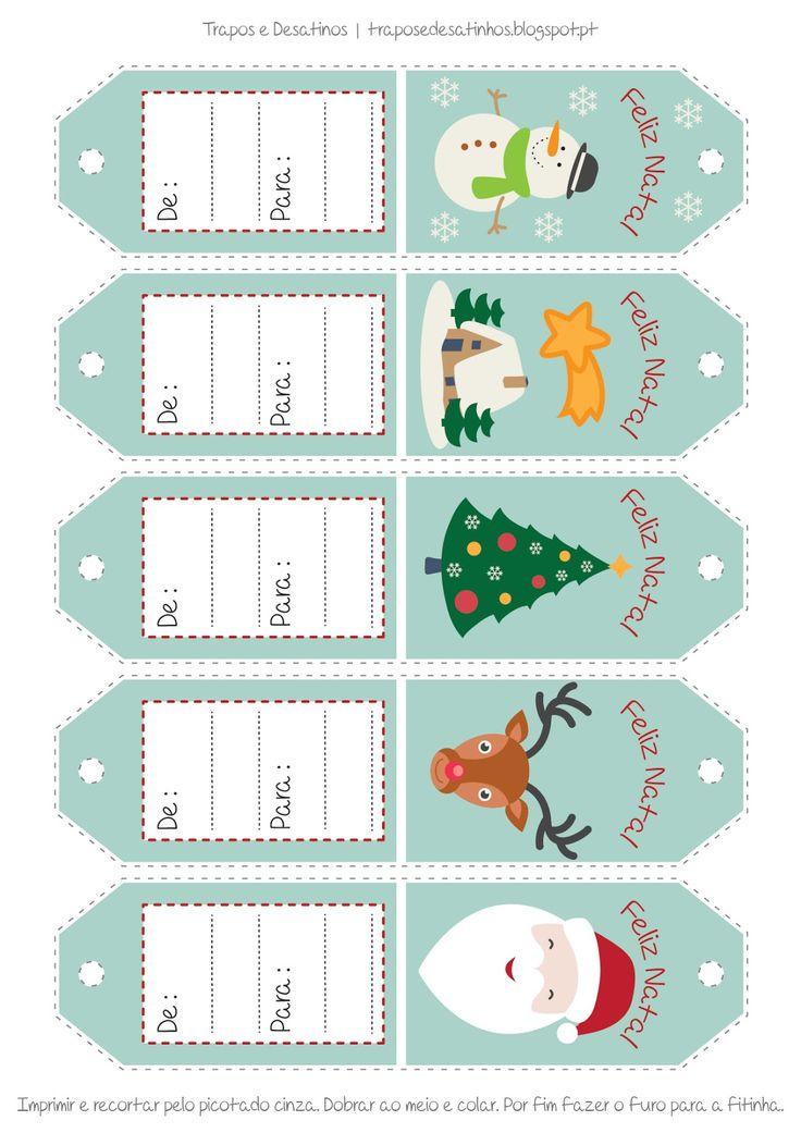 São cinco etiquetas para imprimir cortar e colar. Os vossos presentes de Natal vão ficar lindos! As etiquetas são da nossa autoria.   Faça...