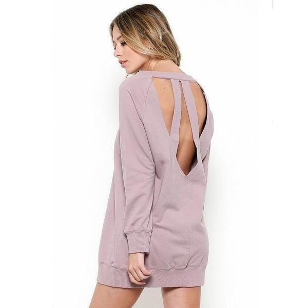 Dusty Pink Open Back Sweatshirt Dress - Nixon & Co. Boutique https://www.nixonandcoboutique.com